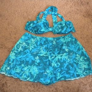 Vintage Tankini Floral 1970s 80s 2pc Swimsuit
